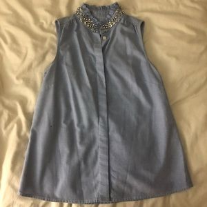 J Crew Chambray button up tank with jewels